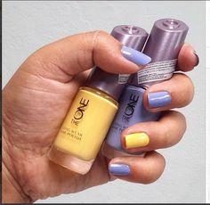 Oriflame The ONe nail polish: Lemon Sorbet (31454), Breeze Blue (31457)