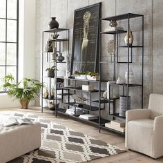 The Pearson modern black bookshelf is a fun play on geometric shape. This unit provides a uniquely contemporary shelving option that blends into any space. Interior Design Living Room Modern, Room Decor, Living Room Decor, Contemporary Shelving, Bohemian Living Room Decor, Home, Interior, Warm Home Decor, Living Room Furniture