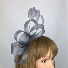 Fascinator Hat silver Grey Saucer headpiece on hairband   Etsy Silver Fascinator, Fascinator Hats, Headpiece, Wire Headband, Silver Headband, Hat For The Races, Grey Hat, Mannequin Heads, Wedding Hats