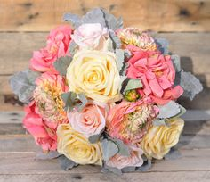 Summer Silk Wedding Bouquet made with Coral by Hollysflowershoppe