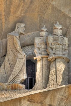 Passion Facade Detail of La Sagrada Familia, Barcelona, Spain, architect Antoni Gaudi