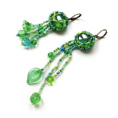 Green freeform beaded earrings  freeform beadwork by Anabel27shop