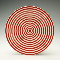 Ruby Red and White Stripes Eight Inch Plate by owlcreekceramics, $20.00