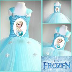 Tutu Dress Disney Inspired - Frozen Blue Elsa Dress with Printed Picture