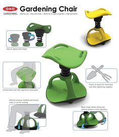 Gardening Chair : Mobility Gardening Aid for Boomers by Han S. Best Garden Tools, Garden Tool Shed, Garden Boxes, Garden Ideas, Garden Gate, Gardening For Beginners, Gardening Tips, Home Vegetable Garden, Home And Garden