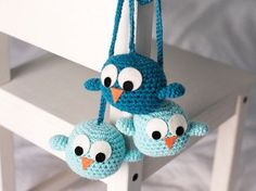 Birds mobile blue by ElGalloBermejo on Etsy Bird Mobile, Birds, Christmas Ornaments, Trending Outfits, Holiday Decor, Crochet, Unique Jewelry, Handmade Gifts, Projects
