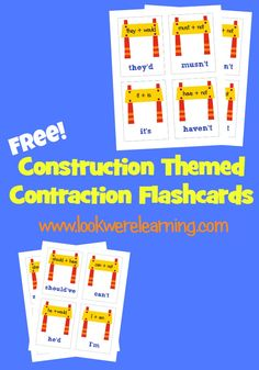 *FREE* Construction Themed Contraction Flashcards