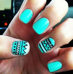 Tribal nail art designs in teal color | Cool Nail Art Designs and ...