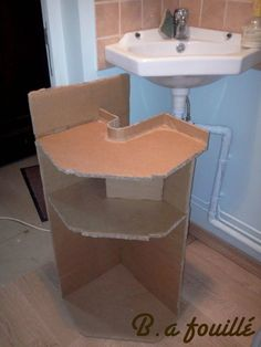 Bathroom Cardboard Furniture Siphon Upcycled Upcycled Cardboard around a Si .Bathroom Cardboard Furniture Siphon Upcycled Upcycled Cardboard around a Siphon as Bathroom Furniture Recycled CardboardHow to make a Vanity DIY case - Diy furnitureHow to make