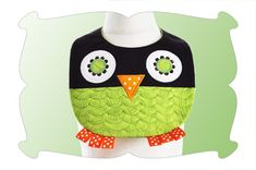 Quilted Owl Baby Bib In The Hoop - DigiStitches Machine Embroidery Designs