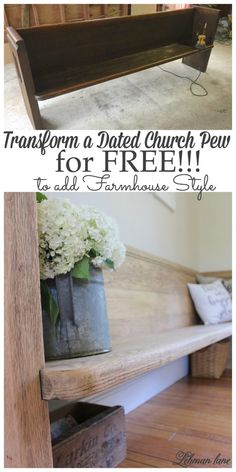 I have long been on the hunt for the perfect church pew for our farmhouse. Our home is the headquarters for many family dinners and holidaysso seating can often be at a premium. Church pews are great because theycan fita lot of people without sacrificing much needed floor space. We found this pew for sale on Craigslist at a local antique shop and were very excited by it's size and craftsmanship, it just needed a little makeover! living room http://lehmanlane.net