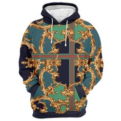 Unisex 3D Novelty Hoodies Vintage,Baroque Swirles Flowers,Sweatshirts for Women Plus Size