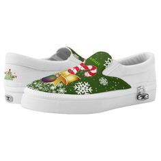 Red Candy Cane | Gold Ribbon | Snowflakes on GREEN Slip-On Sneakers #christmasring #christmasbeading #christmasmatching ribbon on christmas tree ideas, black and white christmas tree, christmas drawings, back to school, aesthetic wallpaper, y2k fashion