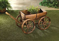 Use this!  Garden Planters Wooden Wagon Wheel Wine Barrel Flower Plant Holder Box Stand Outdoor Indoor Corner Patio Decor