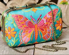 Turquoise Butterfly Embroidered Silk Clutch by Karieshma Sarnaa Bridal Clutch Bag, Wedding Clutch, Wedding Bag, Clutch Bags, Indian Accessories, Wedding Accessories, Butterfly Embroidery, Boho Bags, Craft Bags