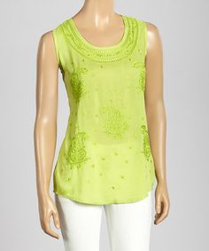 Another great find on #zulily! Lime Paisley Embroidery Tank Top by Trisha Tyler #zulilyfinds