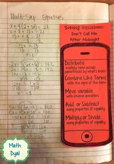 This phone was a great addition to our interactive notebooks and helped students remember the steps for solving equations. When you pass the… - New Site Algebra Equations, Solving Equations, Maths Algebra, Math Math, Two Step Equations, Equation Solving, Math Multiplication, Math Teacher, Math Classroom
