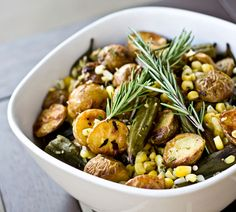 I will skip the corn, but roasted okra and fingerling potatoes sounds like a wonderful fall dish to me. Thinking of cooler weather.