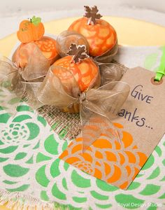 Thanksgiving, Fall, Autumn, Holiday, or Halloween Party Decorations and Food - DIY Stenciled Cupcakes Desserts with Royal Design Studio Stencils