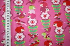 Stenzo-Jersey-T-Shirt-Stoff-Tiere-Igel-Vogel-pink-1m