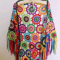 Colourful Crochet Shawl Boho Gypsy Shawl Hippie by fyboutique - no pattern Crochet Bolero, Crochet Shawl Free, Crochet Gratis, Crochet Diy, Crochet Shawls And Wraps, Crochet Scarves, Crochet Clothes, Gypsy Crochet, Crochet Patterns Free Women
