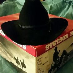 STETSON BLACK COWBOY HAT 4 xxxx beaver Stetson, black,  cowboy hat.  Size 6 7/8.  Beautiful black hat,  with no damage or fading.   Still have in original box,  altho the box is getting worn out.   Was worn but no longer wear since we sold our horses.  Most western stores will reshape if you so desire.   Any questions,  please ask. Stetson Accessories Hats