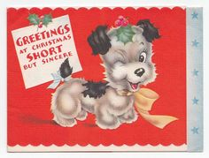 Vintage Greeting Card Christmas Dog 1940s HELLO Typography Inside | eBay