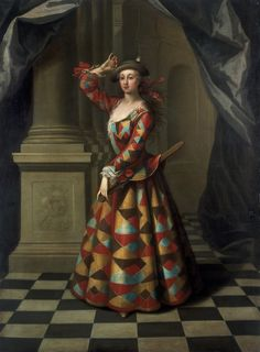 Booth as a female Harlequin.Mrs Hester Booth,nee Santlow dressed as a harlequin, John Ellys Victoria and Albert Museum. Carnival Costumes, Dance Costumes, Costumes Uk, Costume Ideas, Costume Harlequin, The Duchess Of Devonshire, European Costumes, Pierrot, 18th Century Fashion