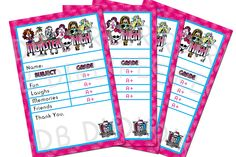 Monster High Thank You Card Report Card Style by SDBDIRECT