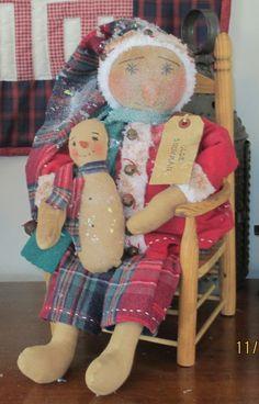 Primitive Christmas  Winter  Folk Art Snowman  by WillowCreekPrims