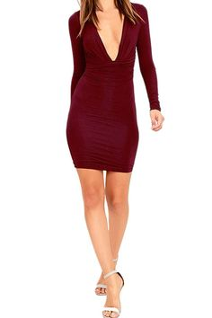 Merry21 Women's Soft Deep V Neck Crepe Drape Sheath Club Midi Dress Ruby S -- Awesome products selected by Anna Churchill