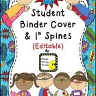 """Kick off your year with this cute binder cover and spine set!  What's Included: -Binder Cover (editable) -1"""" binder spine (editable) * You can edit..."""