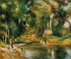 Essoyes Landscape - Washerwoman and Bathers - Pierre Auguste Renoir - The Athenaeum