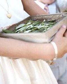 Flower Girl Toss Olive leaf greens instead of or with petals Greek Wedding Theme, Wedding Themes, Wedding Table, Wedding Decorations, Wedding Ideas, Olive Branch Wedding, Olive Wedding, Wedding Lavender, Eucalyptus Wedding