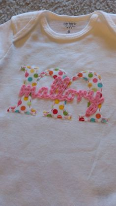Initial and Name Fabric Applique Onesie or Tshirt. $20.00, via Etsy.