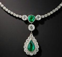 Edwardian Emerald and diamond drop necklace. gorgeousgemsand jewelry.com