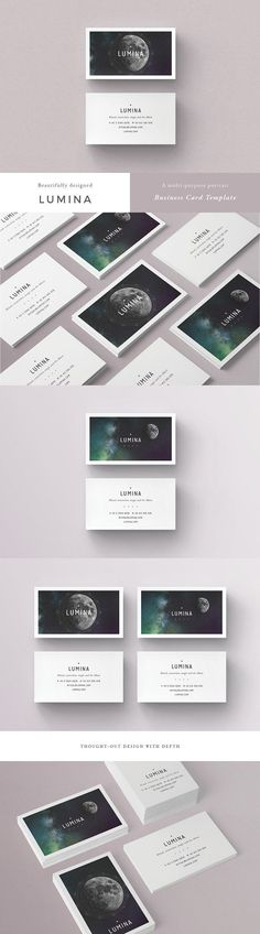 LUMINA Business Card Template - A beautiful multipurpose business card template, perfect for your next project and any brand identity. Clean, modern and fully customisable. Ideal for personal identity, professional branding, advertising, astrologers, health professionals and more. By 46&2 Collective $12 #psd #printable #minimalist #geometric #affiliatelink