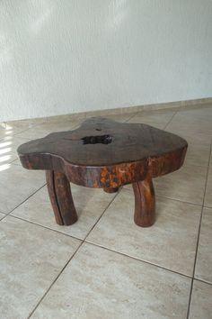 mesa de centro de cepo tora de madeira