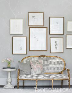 Sketches framed in various sizes create a lovely, but not over the top gallery wall in this room. - Photo: Emily Jenkins Followill / Design: Melanie Turner