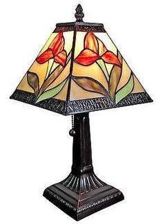 "Amora Lighting Tiffany Style handcraft Stained Glass 14.5""Floral Mini Table Lamp"