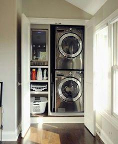 small closet organization laundry room