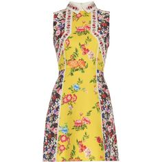 Mary Katrantzou Amore floral-print silk and cotton-blend dress (9.380 DKK) ❤ liked on Polyvore featuring dresses, yellow print, floral print dress, patterned shift dress, pattern dress, silk floral dress and yellow shift dress