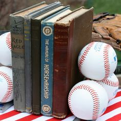 DIY Baseball Bookends are perfect decor for baseball lovers. Decorate with an Americana theme alongside vintage gloves, bats, and baseball cards. Sweet Pea featured on Kenarry.com
