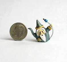 Handmade Miniature WHIMSICAL FANTASY WIZARD TEAPOT - OOAK art by C. Rohal