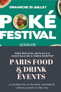 Paris has not escaped the popularity of poké bowls. This 2 day poke festival takes place on a rooftop, goes from noon to midnight, features four different poké restaurants, DJ's, games, animations for both kids and adults and beer, simple cocktails and rosé (25 Euros/bottle)  #poke #bowl #paris #rooftop #terrace #cocktails #food #drink #festival #kid #family #dj #music #mojito #wine #rose #beer #vin