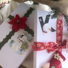 Monogram name tags made from old Christmas cards!