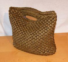 Vintage Woven Straw Bag Brown Color Rigid Base Cotton Lined OVS Borsa Donna Marrone Tortora Paglia Intrecciata Foderata Bottone Automatico di BeHappieWorld su Etsy