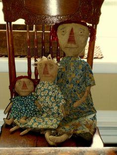 3 prim dolls To order, contact me at folkartandprimitives.etsy.com