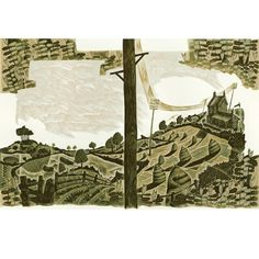 Neil Bousfield 'Edward Thomas: A Landscape Journey' original engraving for the book cover published by Faber & Faber