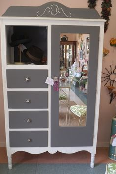 Sweet Chifferobe. Gray and white chalkpaint. Great for a room with out a closet or in your kitchen!